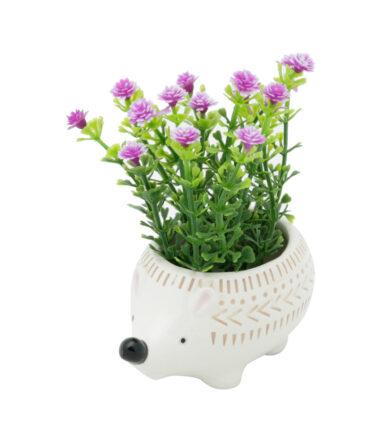 Mini cachepot cerâmica animals dots hedgehog pequeno
