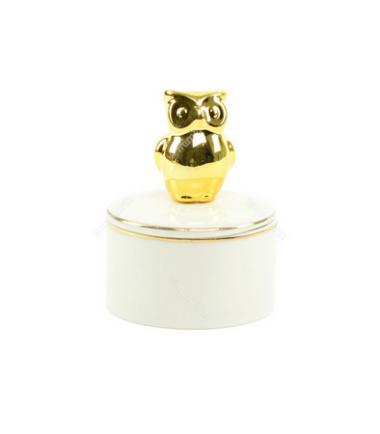 Caixa redonda Coruja nas cores dourada e branca